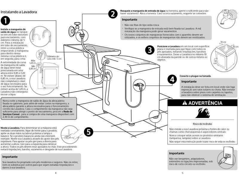Lavadora de roupas Consul  - CWS12 - instalação - visão geral