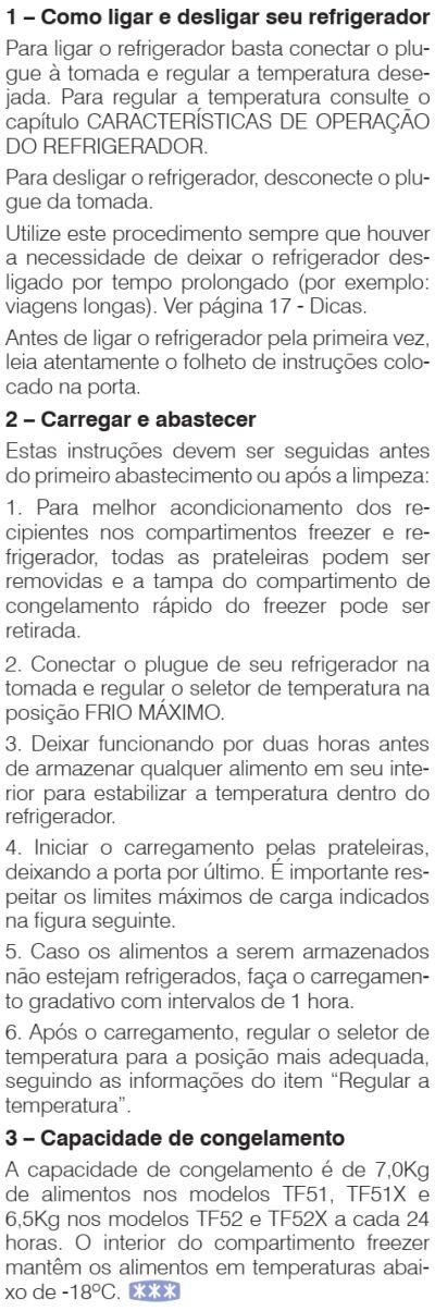 Geladeira Electrolux - TF51 - como usar 1