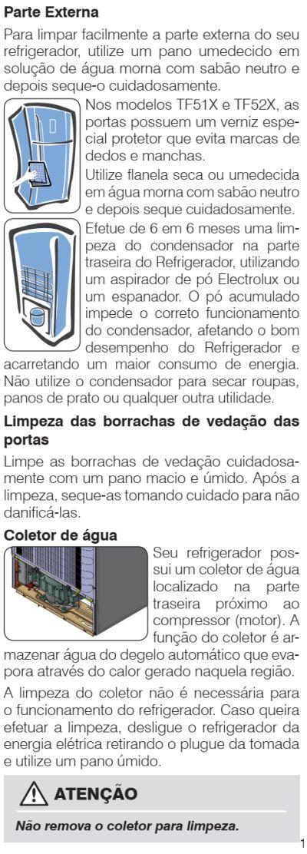 Geladeira Electrolux - TF51 - limpeza e manutenção 2
