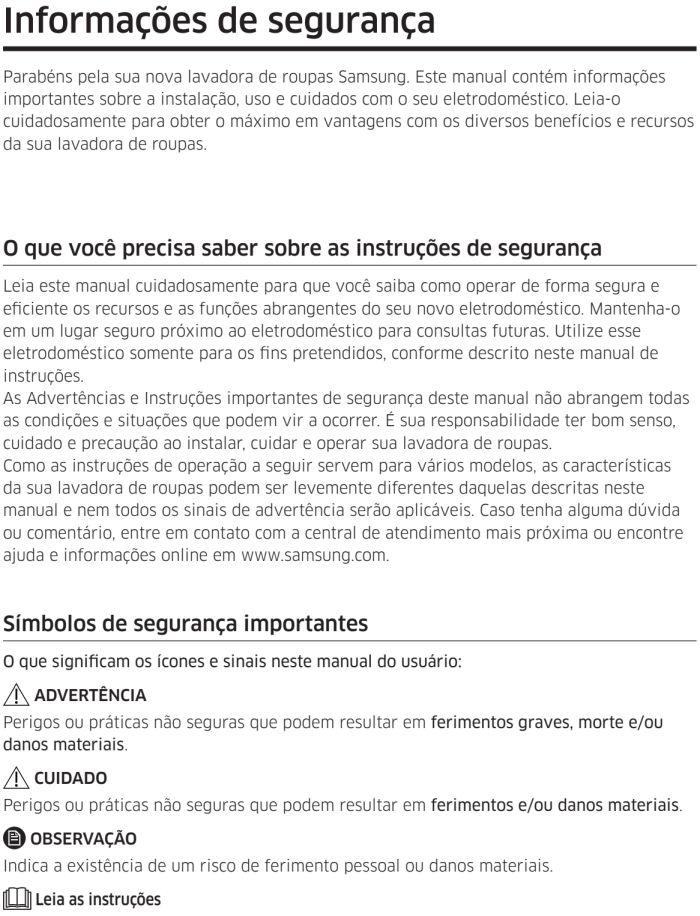 Lava e seca Samsung - instruções de segurança 1