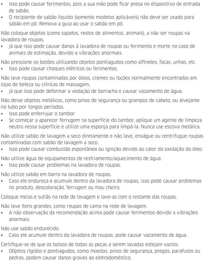 Lava e seca Samsung - instruções de segurança 10