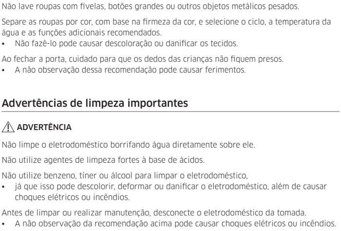 Lava e seca Samsung - instruções de segurança 11