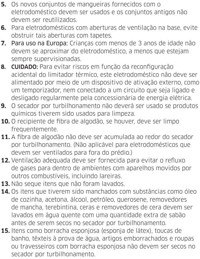 Lava e seca Samsung - instruções de segurança 3