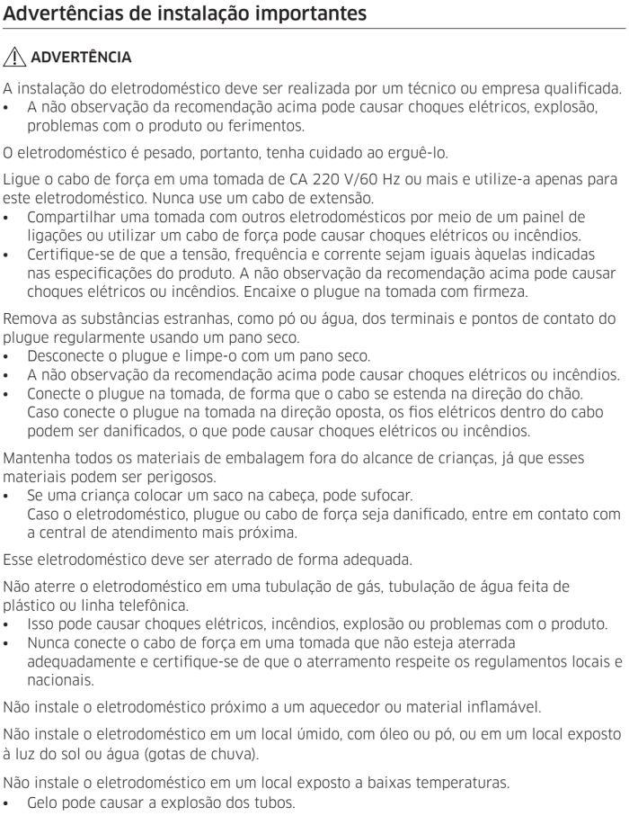 Lava e seca Samsung - instruções de segurança 5