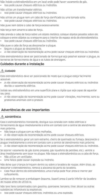 Lava e seca Samsung - instruções de segurança 6