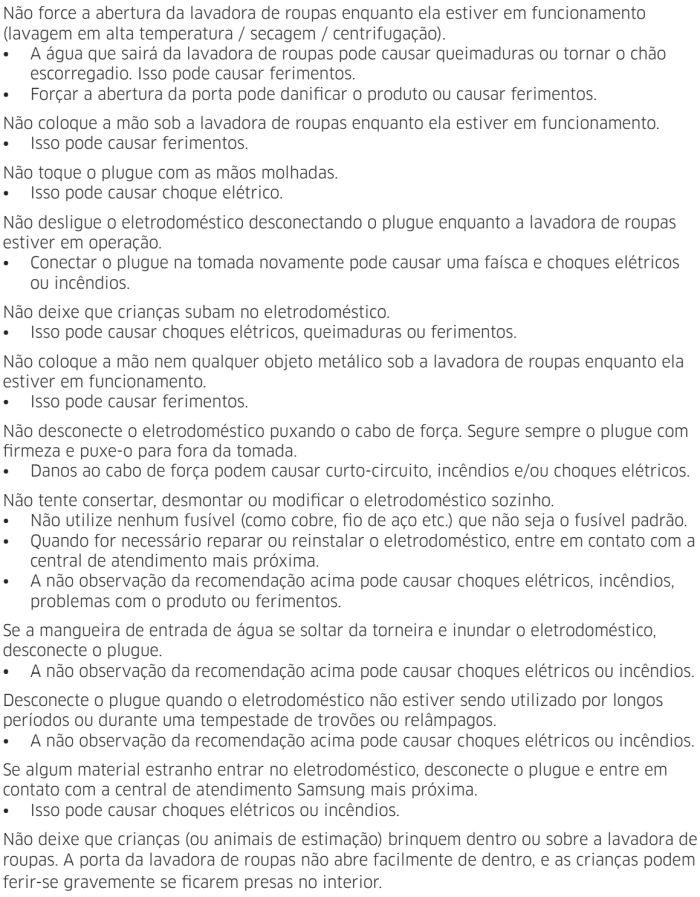 Lava e seca Samsung - instruções de segurança 7