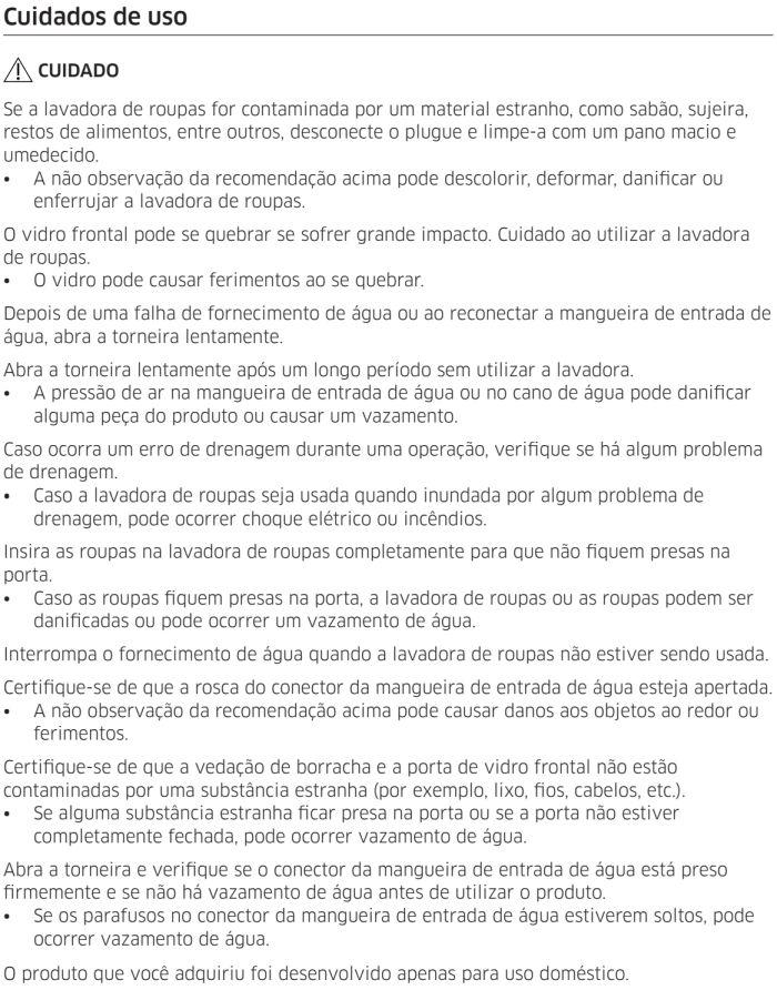Lava e seca Samsung - instruções de segurança 8