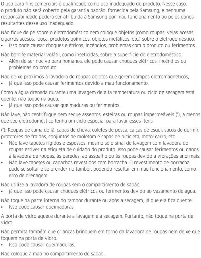 Lava e seca Samsung - instruções de segurança 9