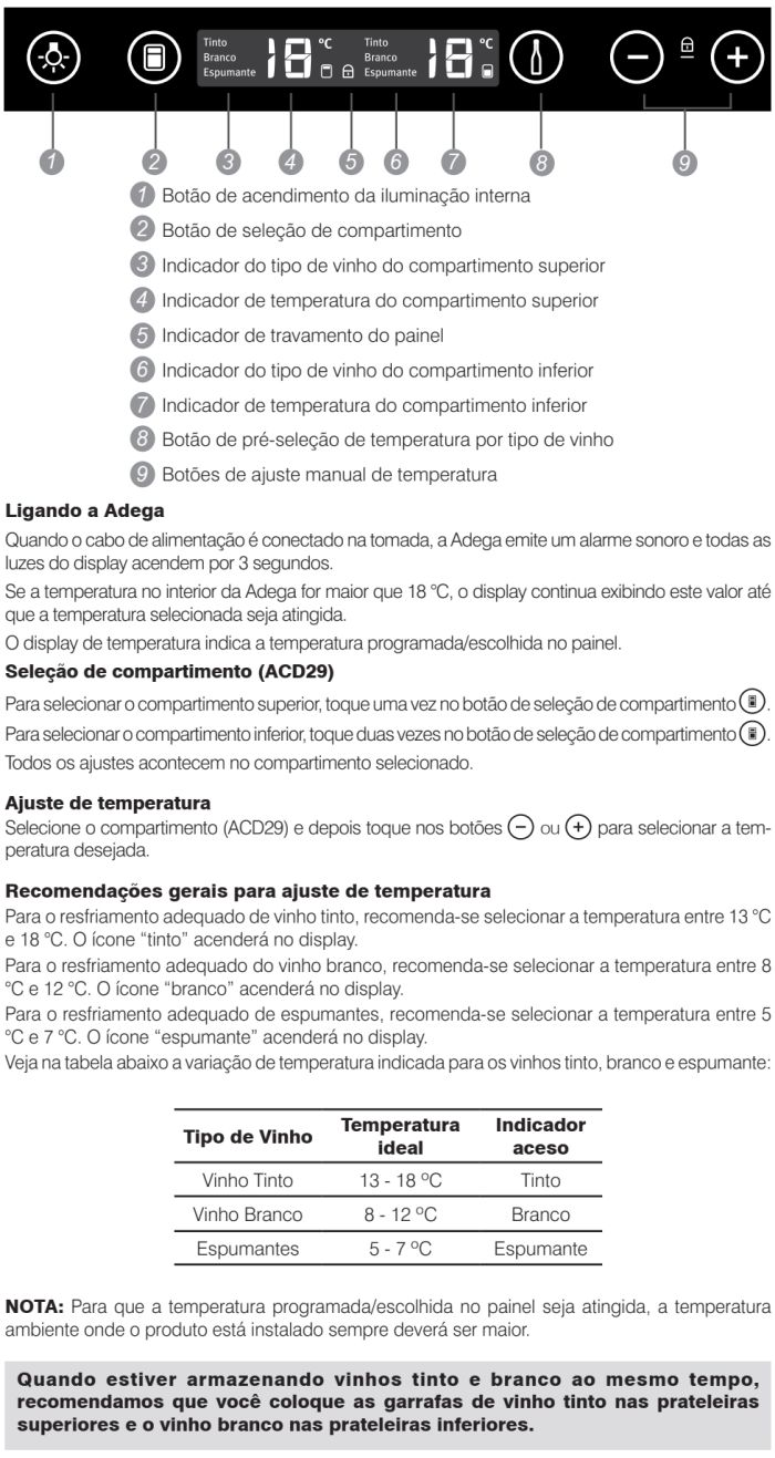 Adega Electrolux - ACD29 - como usar 1