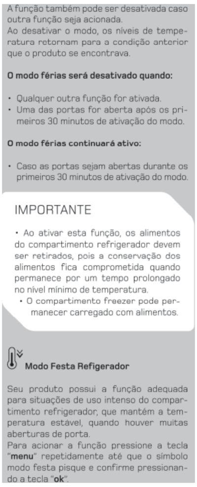 Geladeira Brastemp BRX50 - funções especiais - 4