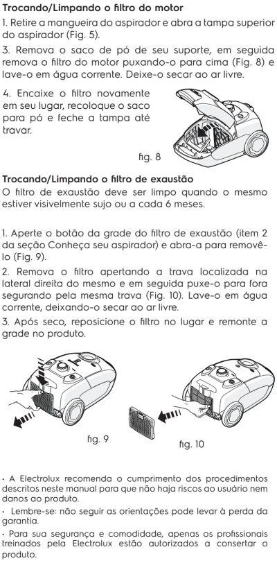 Aspirador de pó Electrolux - EQP20 - limpeza e manutenção 2