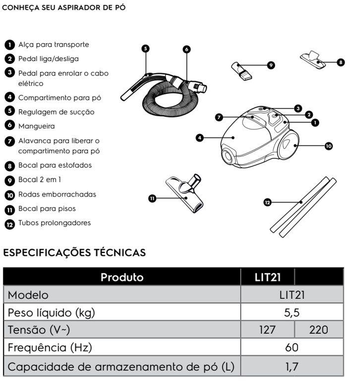 Aspirador de pó Electrolux - LIT21 - conhecendo produto