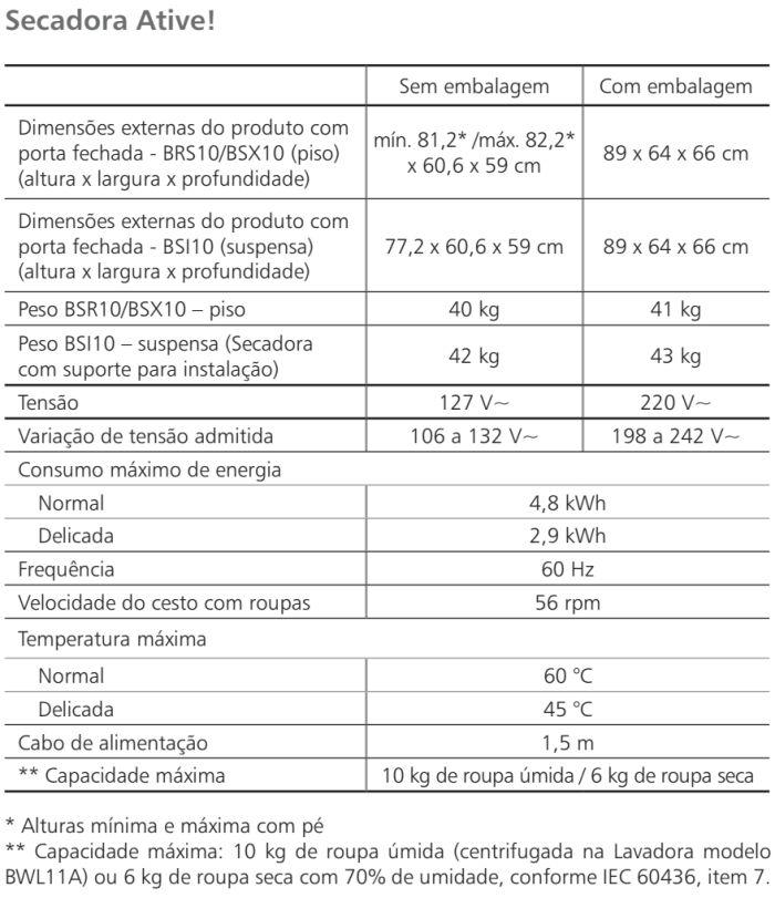 Secadora de Roupas Brastemp - BSR10 - conhecendo produto - especificações técnica