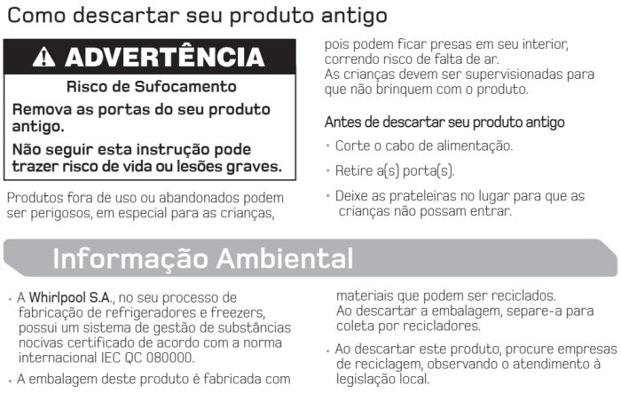 Freezer Brastemp - segurança no uso do produto - BVR28 - 4