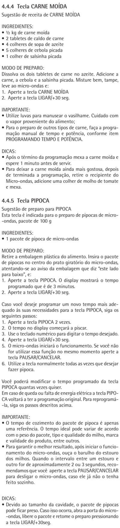 Microondas Consul - CMA30 - usando produto 5 - receitas
