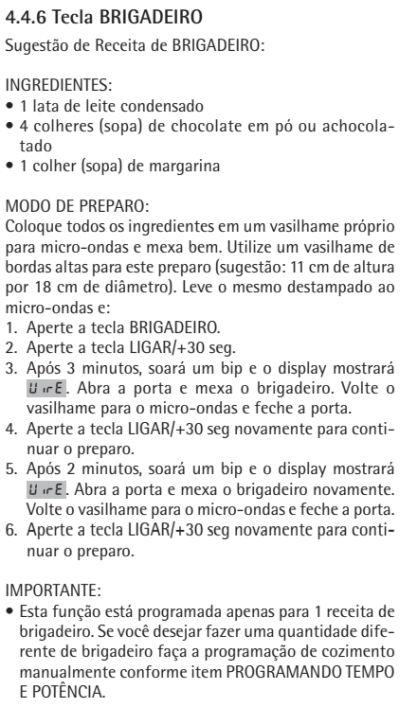 Microondas Consul - CMA30 - usando produto 6 - receitas