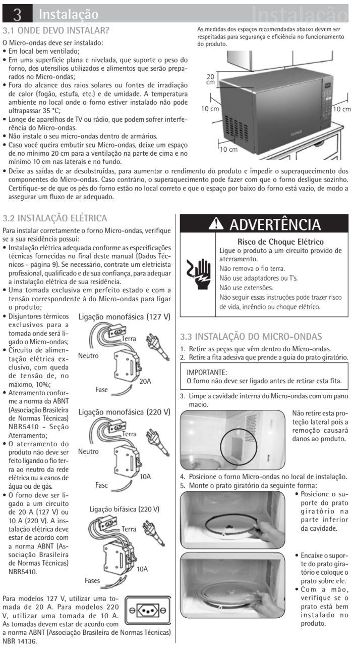 Microondas Consul - CMA30 - instalando produto