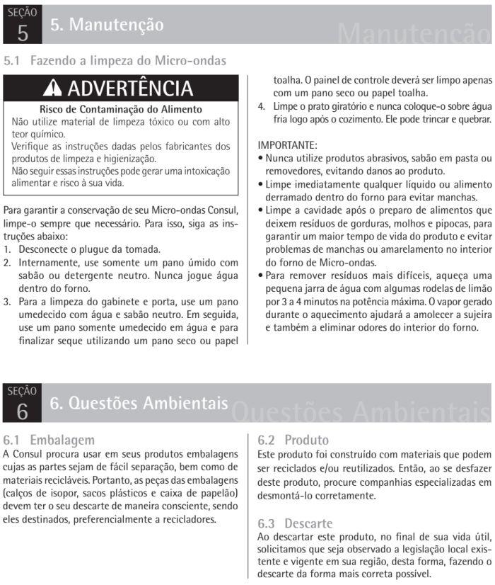 Microondas Consul - CM020 - limpando produto 1