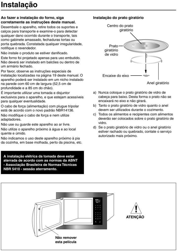 Microondas Panasonic - GB686 - instalando produto