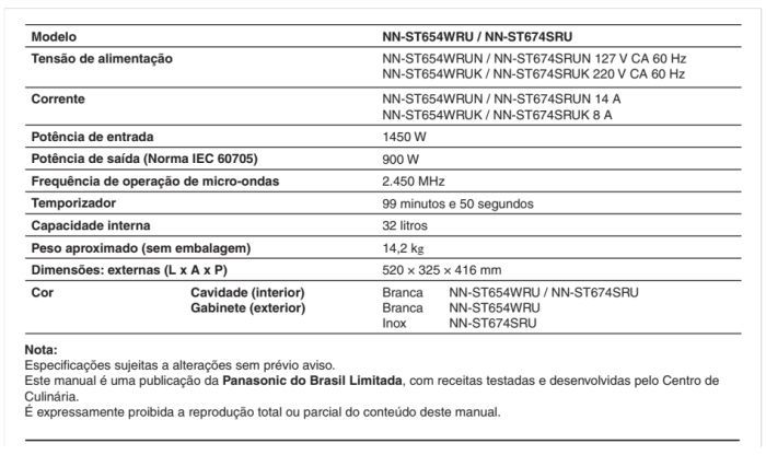 Microondas Panasonic - ST654 - conhecendo produto 2 - especificações técnica