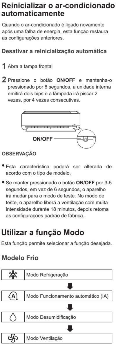 Ar condicionador LG - US-Q092 - como usar 1