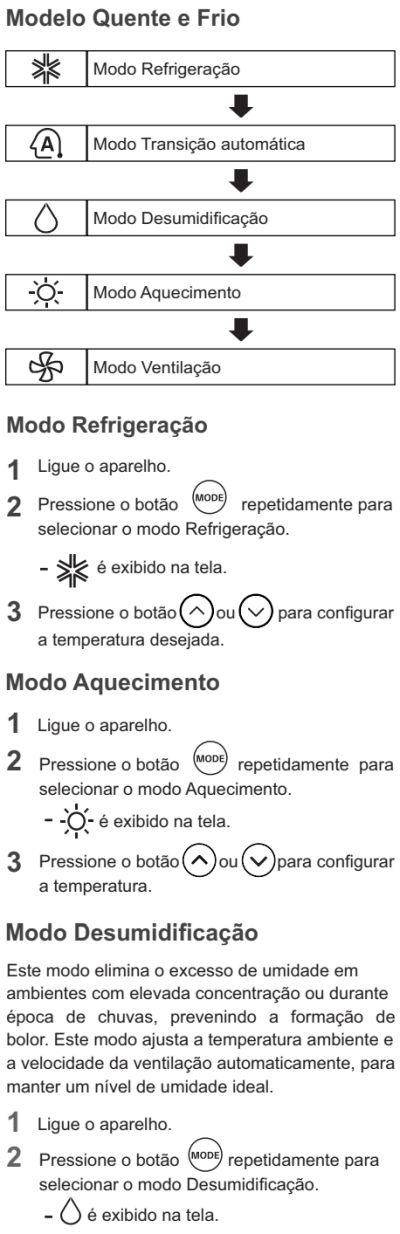 Ar condicionador LG - US-Q092 - como usar 2