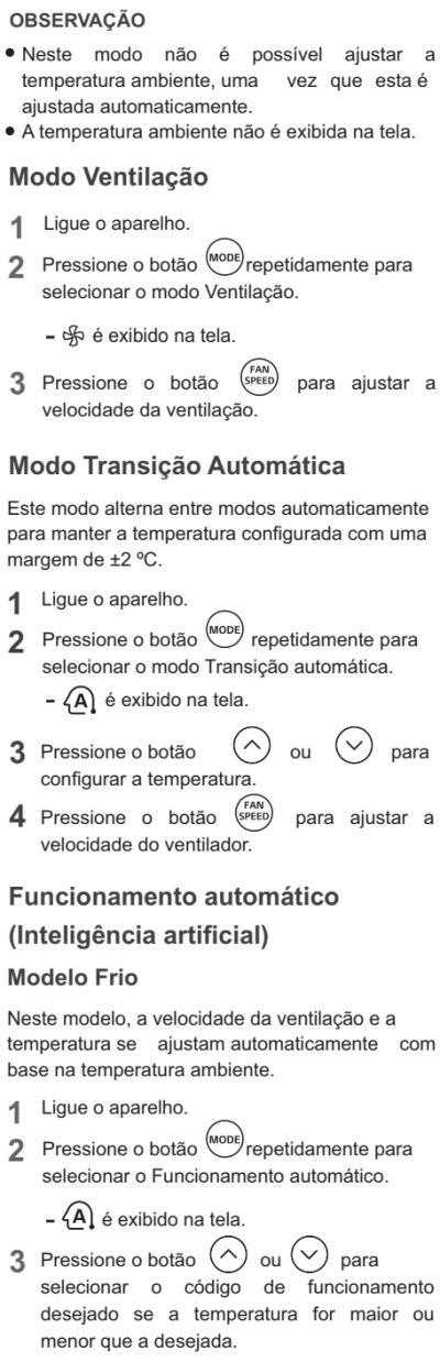 Ar condicionador LG - US-Q092 - como usar 3