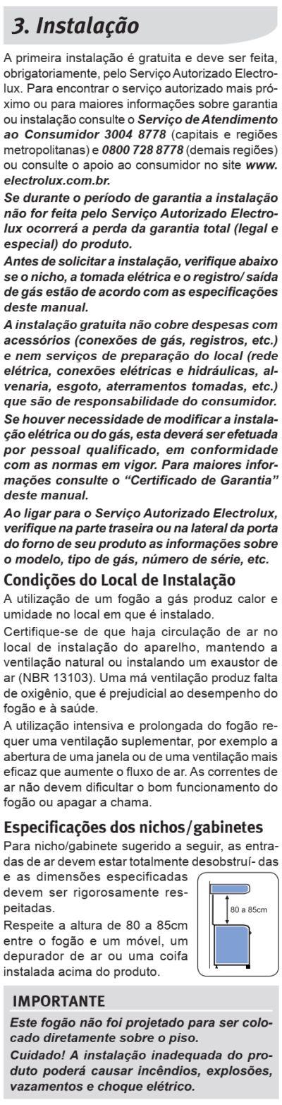 Fogão Electrolux - 76TXE - instalando o produto 1