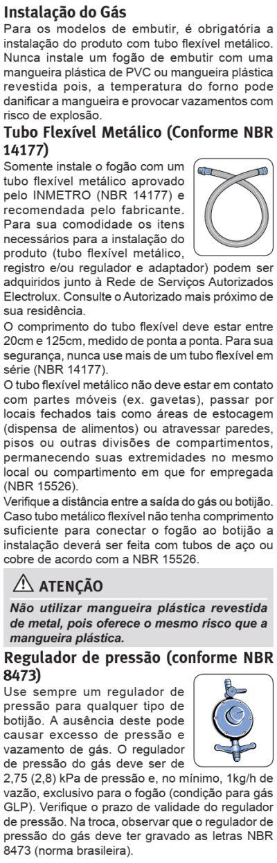 Fogão Electrolux - 76EVX - instalando o produto 11