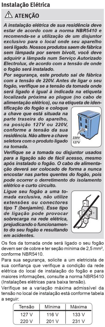 Fogão Electrolux - 76EXR - instalando o produto 6