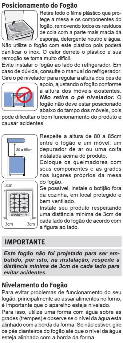 Fogão Electrolux - 76RBS - instalando o produto 2