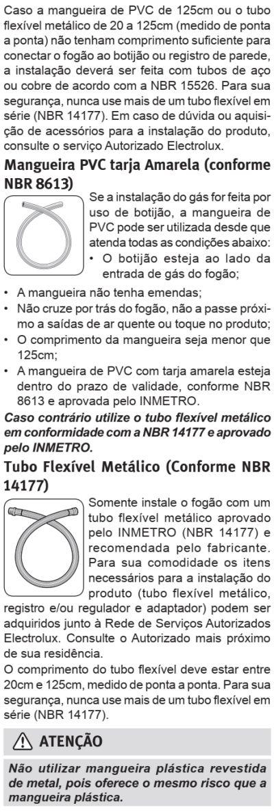 Fogão Electrolux - 76RBS - instalando o produto 5
