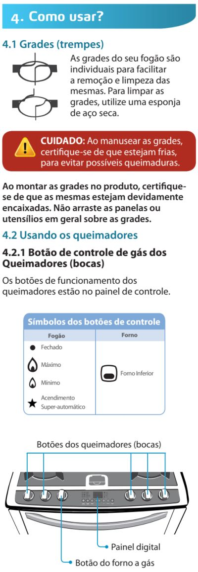Fogão Electrolux - 76dvx - como usar 1