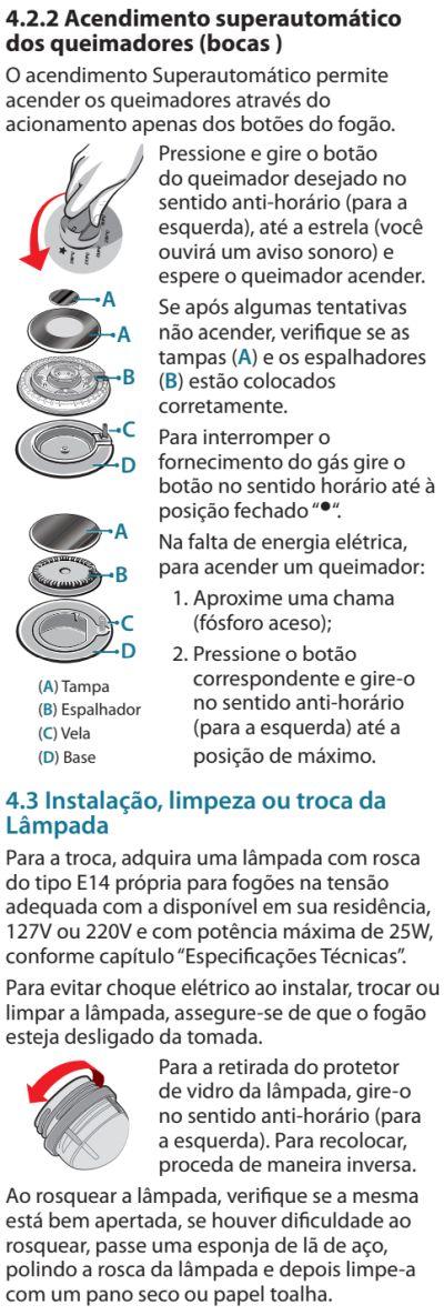 Fogão Electrolux - 76dvx - como usar 2