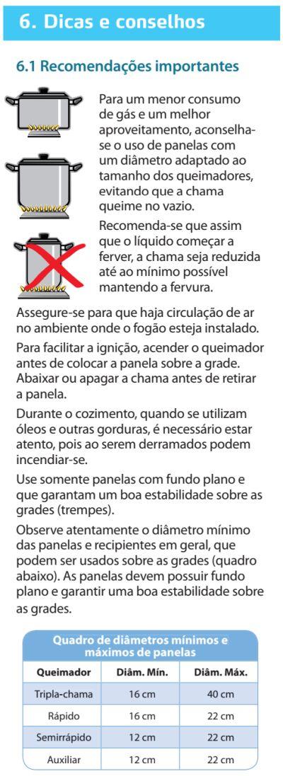 Fogão Electrolux - 76dvx - dicas 1