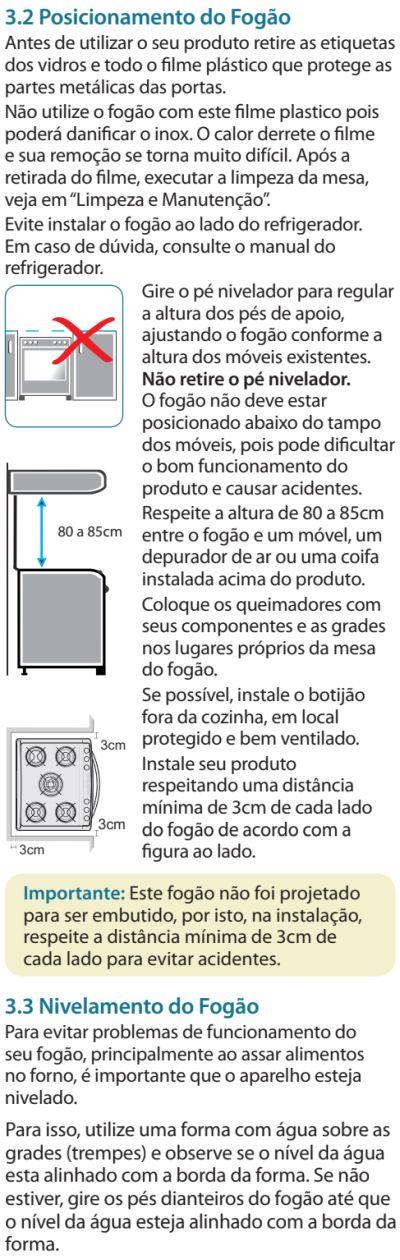 Fogão Electrolux - 76dvx - instalando o produto 2