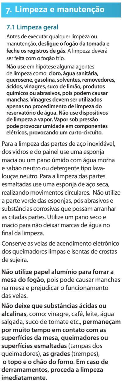 Fogão Electrolux - 76dvx - limpando produto 1