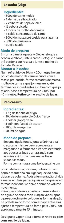 Fogão Electrolux - 76dvx - receitas 2