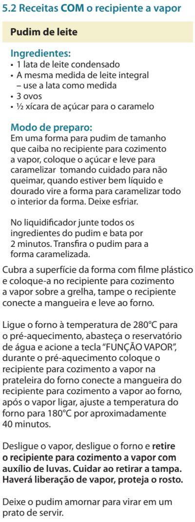 Fogão Electrolux - 76dvx - receitas 3