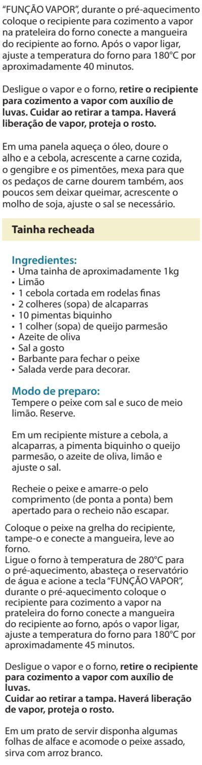 Fogão Electrolux - 76dvx - receitas 6