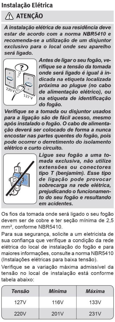 Fogão Electrolux - 76EVX - instalando o produto 6