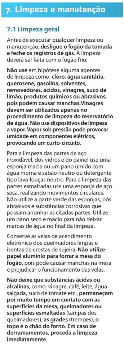 Fogão Electrolux - 76evx - limpando produto 1