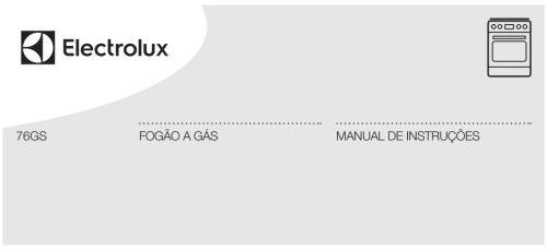 Fogão Electrolux - capa manual