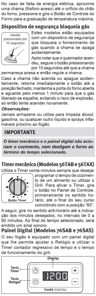 Fogão Electrolux - 76sab - como usar 3