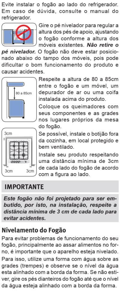 Fogão Electrolux - 76sab - instalando o produto 2