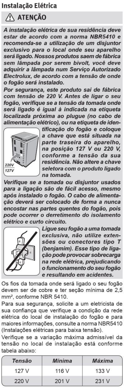 Fogão Electrolux - 76sab - instalando o produto 3