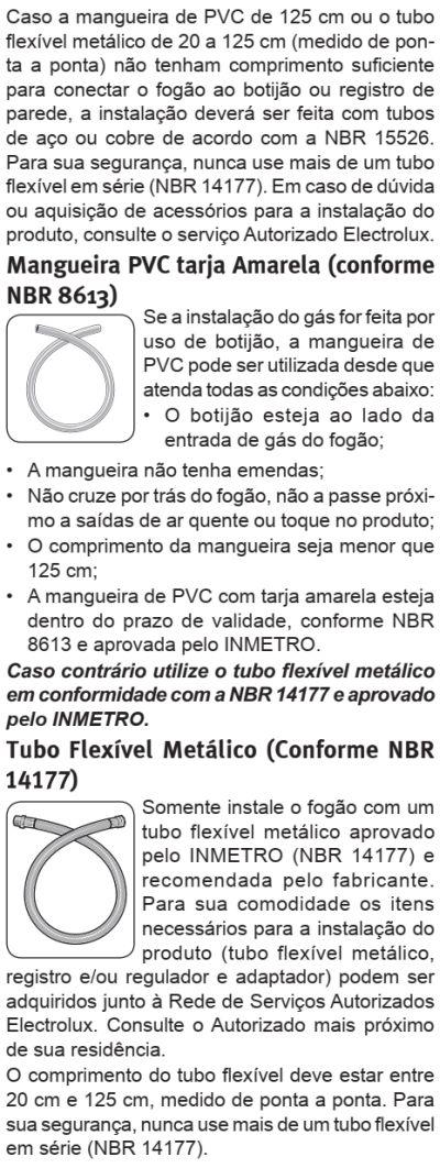 Fogão Electrolux - 76sab - instalando o produto 5