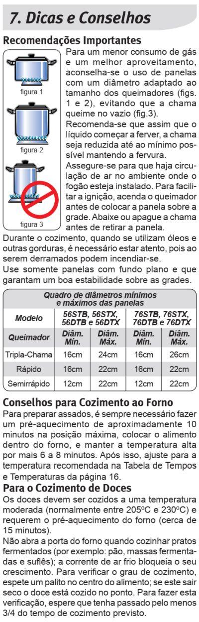 Fogão Electrolux - 56DTB - dicas 1
