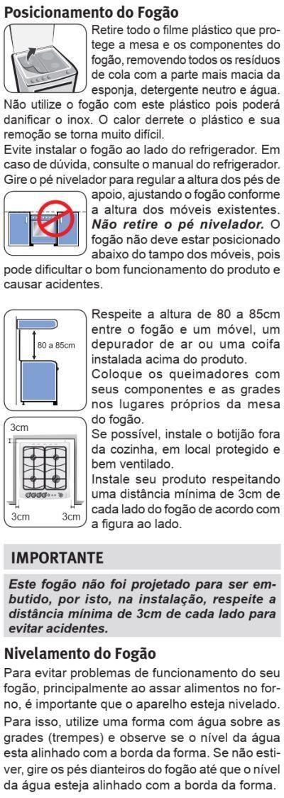 Fogão Electrolux - 56DTX - instalando o produto 2