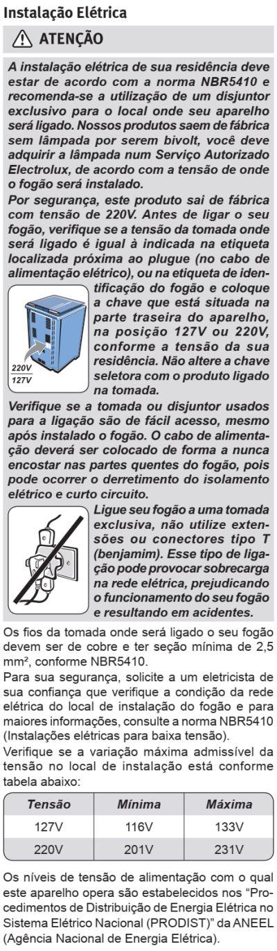 Fogão Electrolux - 56DTX - instalando o produto 3